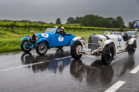 "Thomas Kern and Timon Schapals (D) on a 1930 MERCEDES-BENZ 710 SSKL taking on Antonio D'Antinone and Sabrina Baroli (I) on a 1927 BUGATTI T40. Valeggio sul Mincio, May 2016. Nikon D810, 24 mm (24.0mm ƒ/1.4) ) 1/125"" ƒ/3.5 ISO 64"