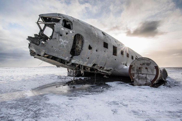 "November 24, 1973. United States Navy Douglas Super DC-3 airplane, forced to an emergency landing on Sólheimasandur's beach, Iceland, in Iceland, Febbruary 2016. Nikon D810, 20 mm (20.0 mm ƒ/1.8) 1/125"" ƒ/7.1 ISO 64"