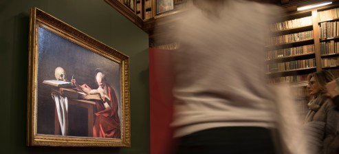"""Caravaggio, """"St. Jerome Writing"""", 1606, temporarily exposed in the Federiciana room of the Ambrosiana Library in Milan. Nikon D750, 24 mm (24-120 mm ƒ/4) 0,6"""" ƒ/4 ISO 640"""