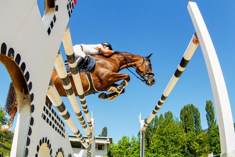 Foto sportiva di equitazione scattata dal basso