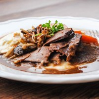 Slow Cooked Beef Brisket with Celeriac Mash and Wild Mushrooms
