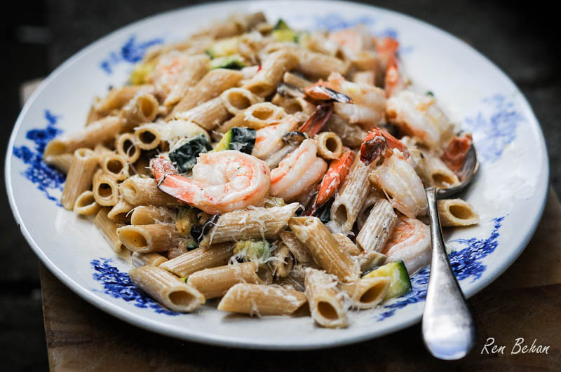 Whole Wheat Penne with Prawns
