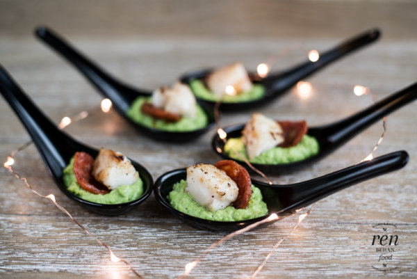cod, chorizo and pea puree bites