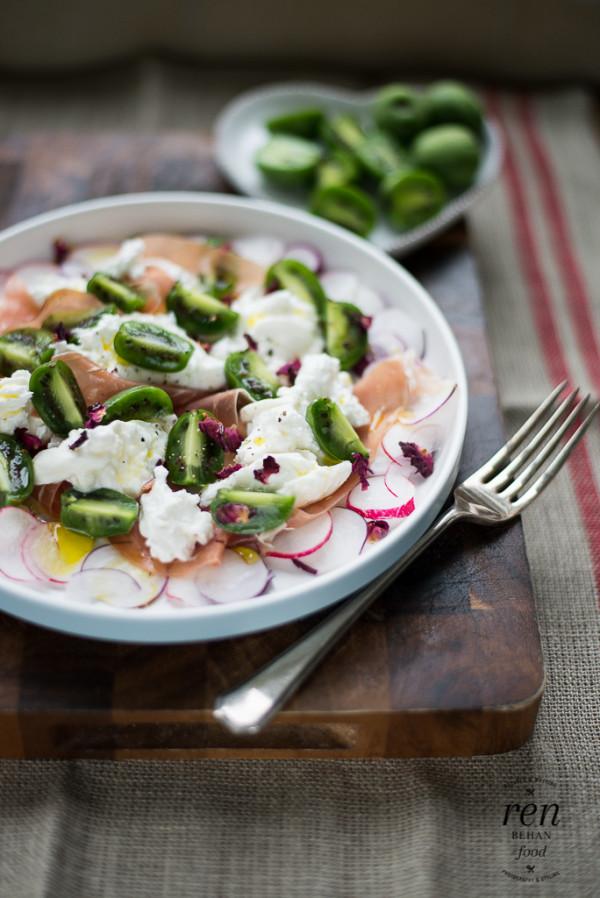 Baby Kiwi and Burrata Salad