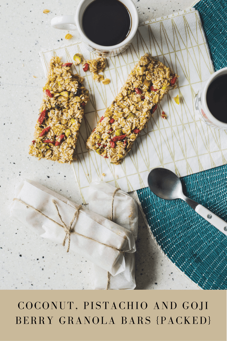 Recipe: Coconut, Pistachio and Goji Berry Granola Bars {Packed}