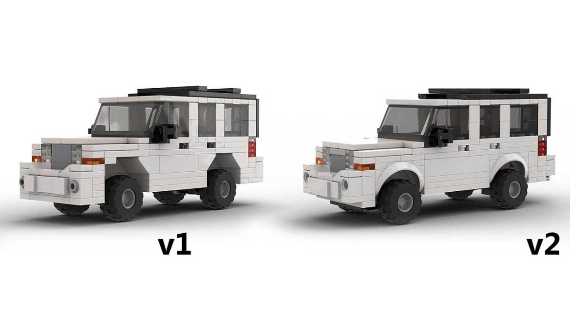 LEGO Jeep Commander models side by side