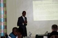 Innocent Mumararungu giving a presentation on behalf of Chance for Childhood, hosting organisation