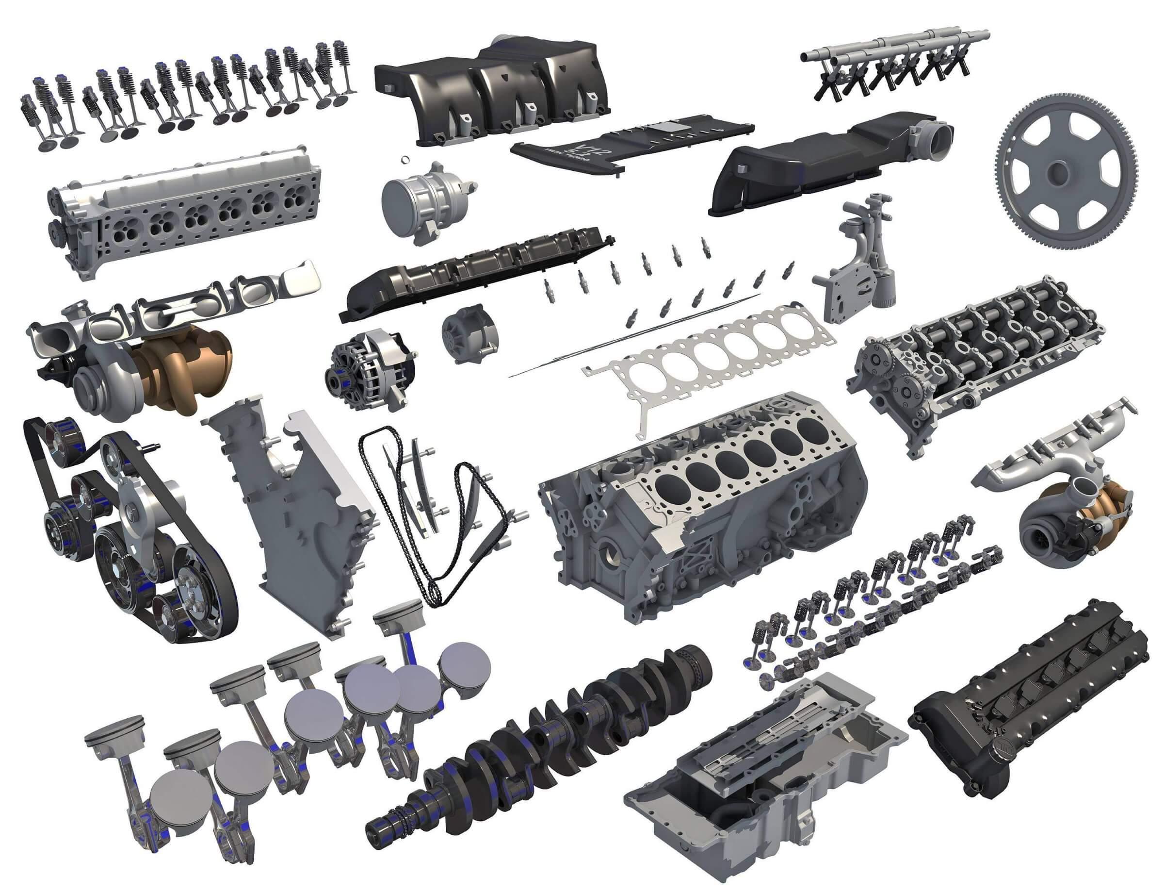V12 Engine 3d Model