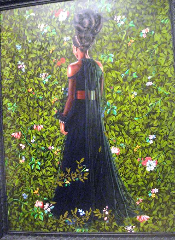 "Princess Victoire of Saxe-Coburg Gotha, oil on linen, from the series , ""An Economy of Grace"" #KehindeWiley"