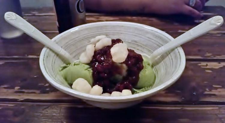 Green Tea Ice Cream with Adzuki Beans, Crispy Rice and Honey
