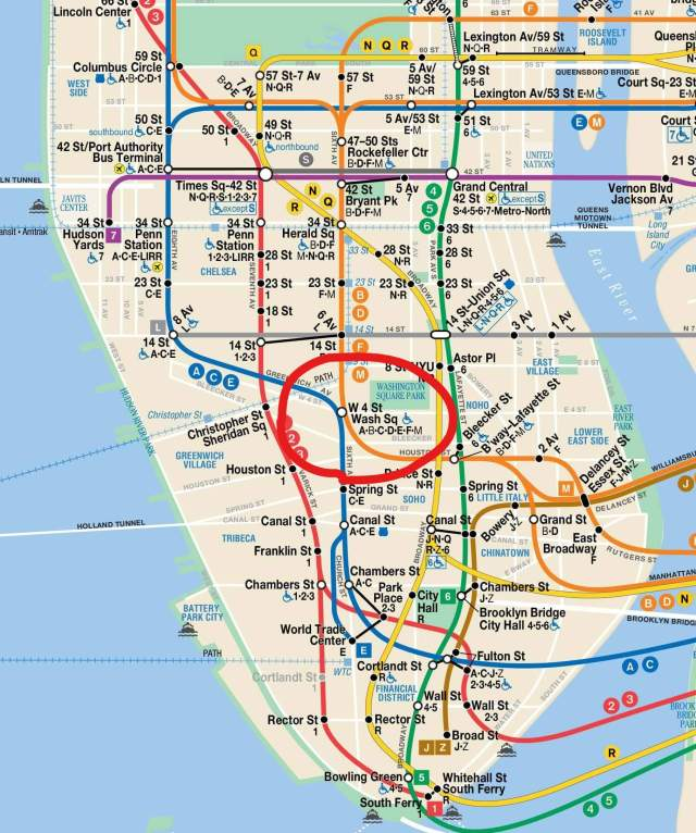 NYC Subway map with ink