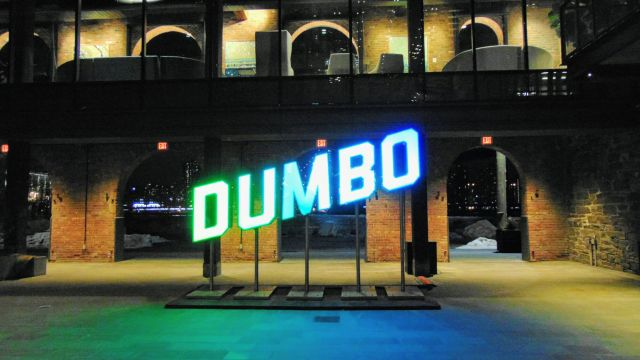 Dumbo Sign in Brooklyn Bridge park