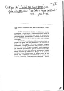 thumbnail of Les cahiers Roger Vailland – Jean Sénégas