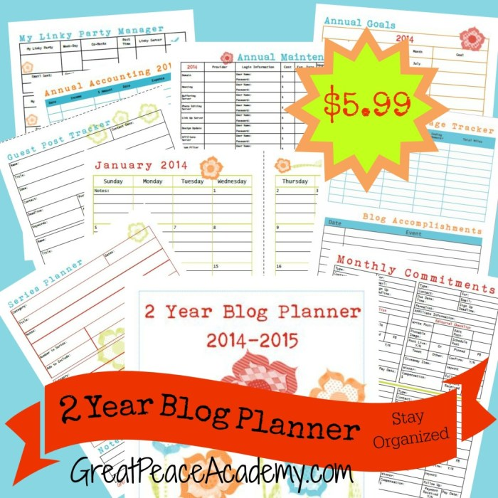 A blog planner to keep your blog business organized via Great Peace Academy
