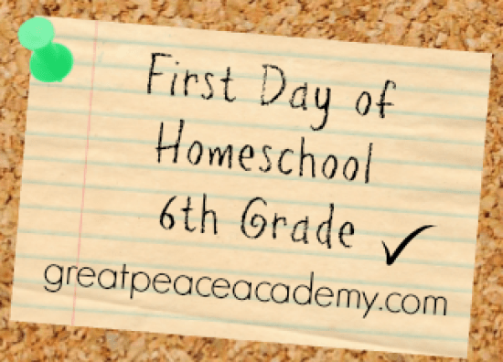 First Day of Homeschool 6th Grade at Great Peace Academy