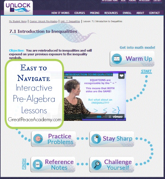 Outsourcing Homeschool Math Curriculum with Interactive Pre-Algebra Lessons from Unlock Math. | Great Peace Academy
