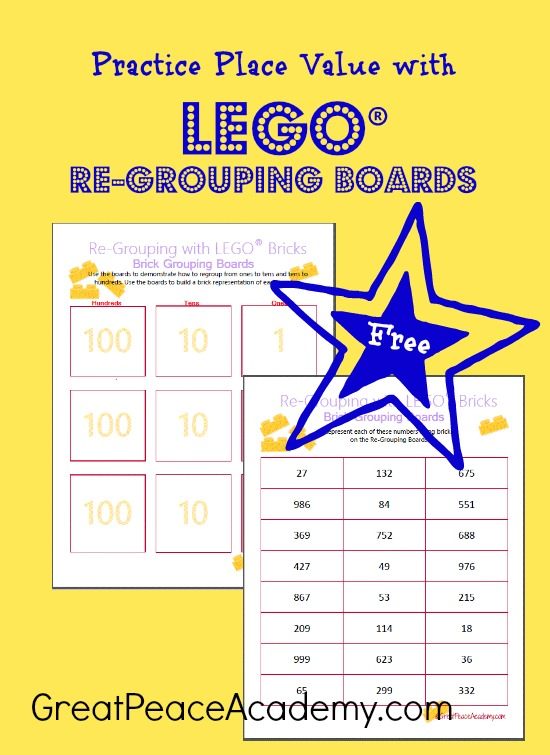 Place Value Practice with LEGO Re-Grouping Boards from Great Peace Academy