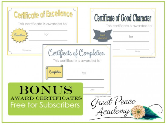 Homeschool Award Certificates Free for Great Peace Academy Subscribers | GreatPeaceAcademy.com
