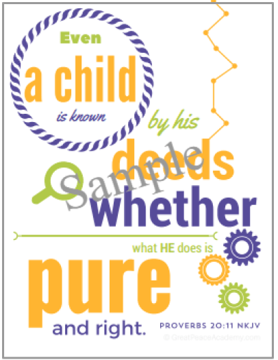 Responsibility Scripture Art for Boys | GreatPeaceAcademy.com #ihsnet #homeschool