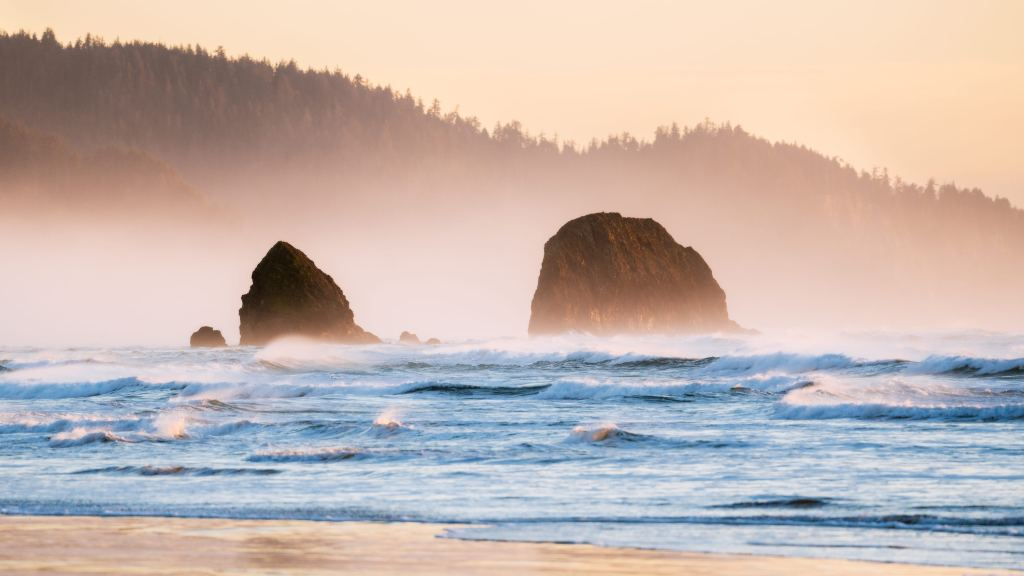Take an incredible 24 hour getaway to beautiful Cannon Beach on the Oregon Coast. Explore Haystack Rock and photograph sunrise and sunset along the Beach. Find out what to pack, how to get there, what to see, and more! Cannon Beach is one the Pacific Northwest's best beaches! Found on Renee Roaming - your resource for travel photography, couple travel, pacific northwest trips, van life, national park adventures, and more!