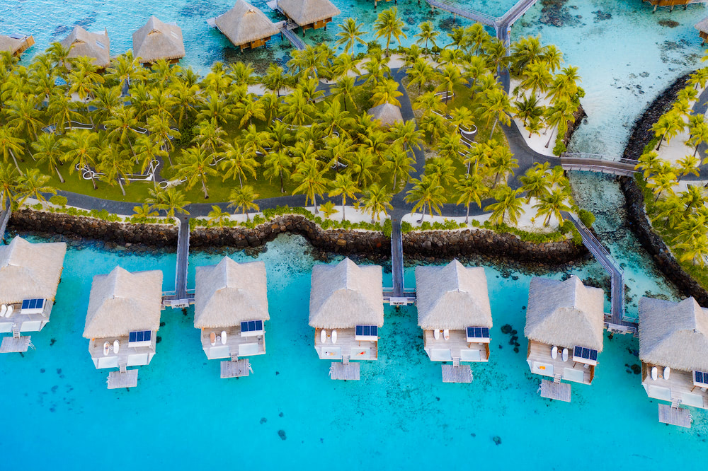 The Ultimate Romantic Couples Getaway to Bora Bora French Polynesia Conrad Bora Bora Nui Drone
