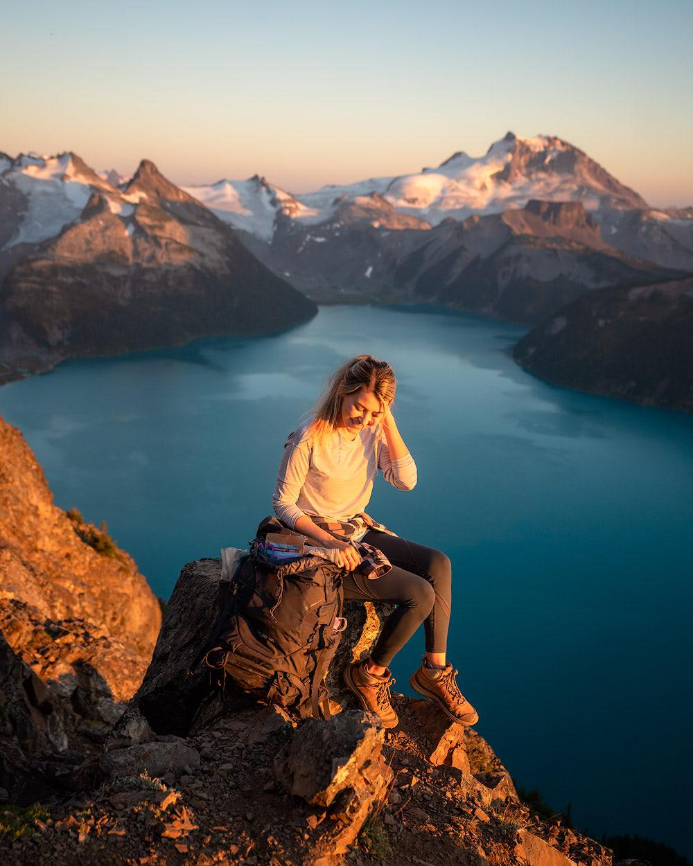 Garibaldi Provincial Park Panorama Ridge Overnight Backpacking Trip Ridge Golden Hour
