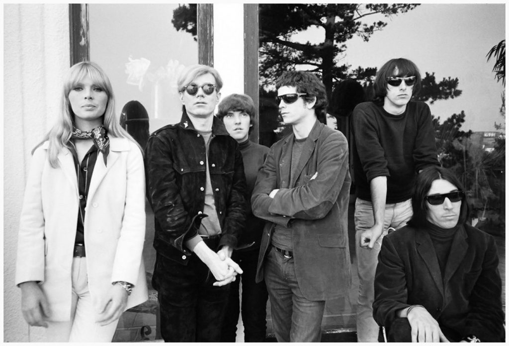 The Velvet Underground with Nico and Andy Warhol (center picture) ca. 1966.