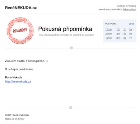 FollowUpThen – ukázka emailu