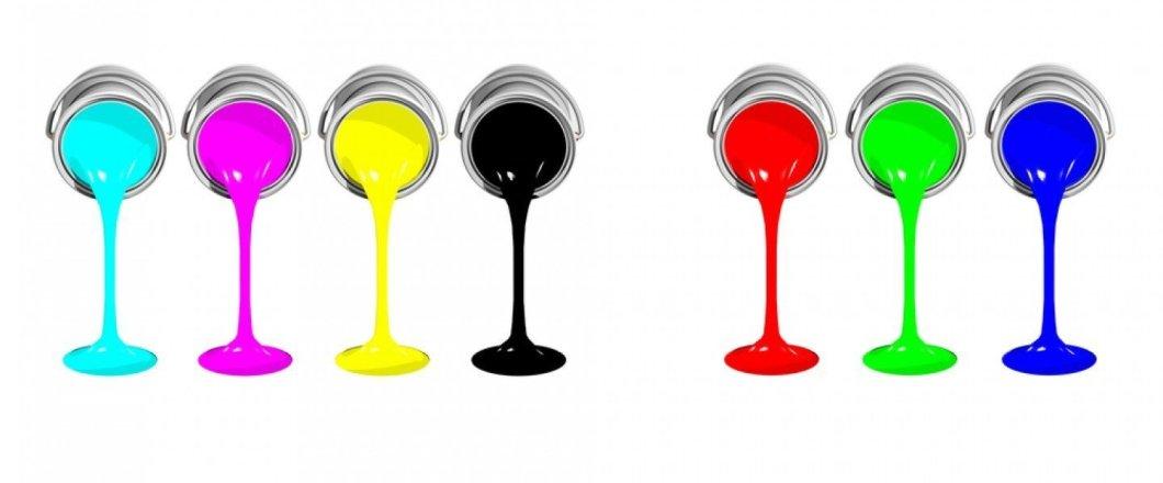 RGB vs CMYK (paint pots)