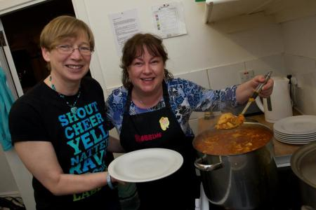 (from left to right) Moira Stark, Kilbarchan Fairtrade Group and Chef Carol Seeth, Bobbins Tea Room.