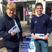 Annabel Goldie joins local Conservative candidate Fraser Galloway on the streets of Paisley