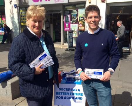 Fraser Galloway, candidate for Paisley and Renfrewshire South was joined on the streets of Paisley with Annabel Goldie.