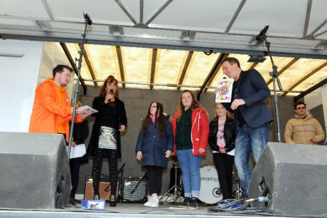 Clyde 1 DJs on stage in Johnstone
