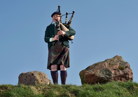 Duncan McGillvary will be playing his uncles bloodstained bagpipes, from the Great War, on a charity single for Erskine hospital. Pictured is Duncan with his bagpipes at Bogbain Farm.