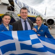 Ryanair's first flight to Chania Greece from Glasgow Airtport takes to the skies