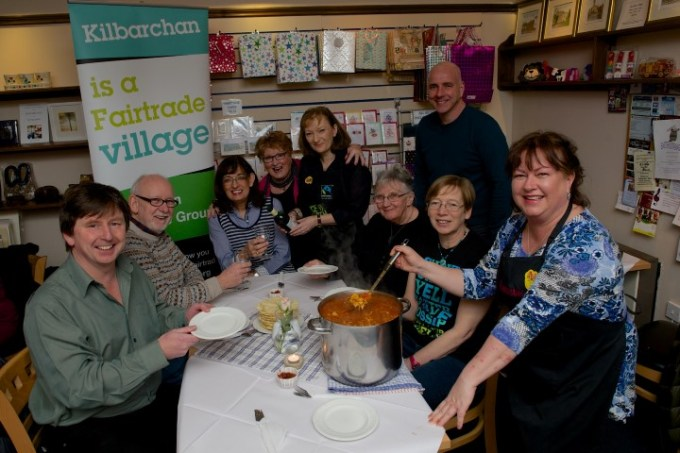 Kilbarchan Fairtrade Group at the curry night in Bobbins Tea Room