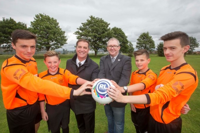 Tony Fitzpatrick, centre left, is joined by chairman of Renfrewshire Leisure, Councillor Jim Harte and players from Gleniffer Thistle youth teams, Scott Russell, 16, from Renfrew; Jay Keenan, 12, from Paisley; Max Brown, 11, from Paisley and Michael McGowan, 17, from Renfrew.Tony was launching youth football tournaments hosted by Renfrewshire Leisure which will see more than 2000 players take part.