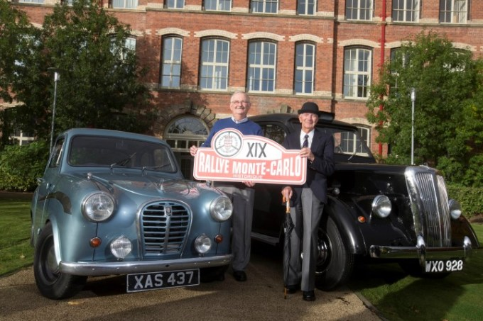 Driver Jean-Marie Herman (left) and Willy Cave (bowler hat) at the official launch of the 2016 Monte Carlo Classic Rally at Anchor Mills, Paisley.