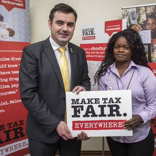 Action Aid's 'Make Tax Fair' campaign launch at The Houses of Parliament in Westminster, London, UK.