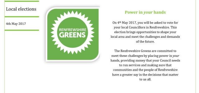 Renfrewshire Greens launch local Council election manifesto