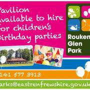 Rouken Glen Park Pavilion now available for children's birthday parties