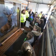 Iconic Monarch of the Glen painting taken to Arkleston Primary for pupils to see