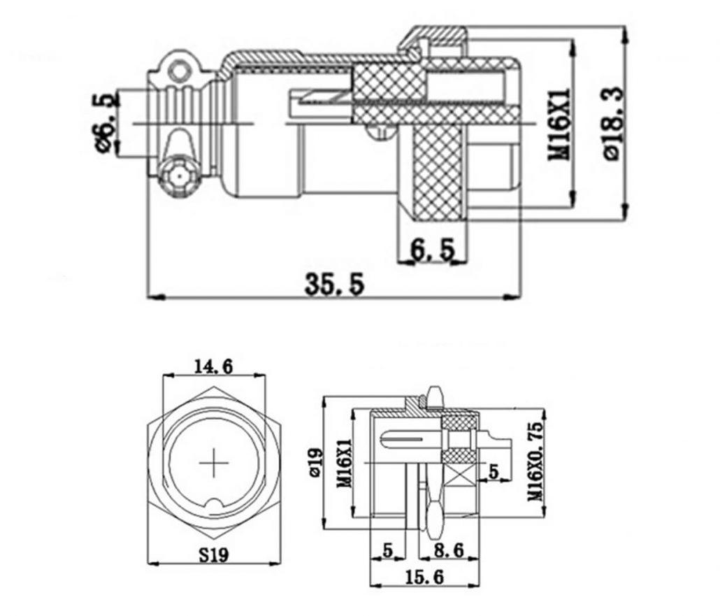 Reverse Straight Plug 4 Pins Plug Gx 16 Connector