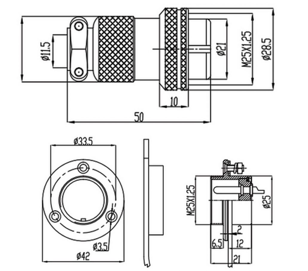 Gx 25 Connector 7 Pin Panel Mount Socket 3hole Circular