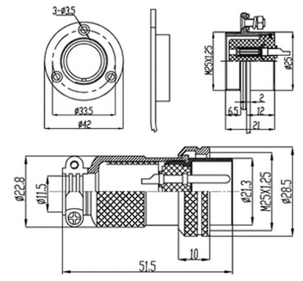Gx 25 Connector 4 Pin Reverse Panel Mount Socket 3hole Circular Flange