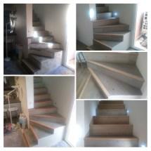 escaliers carrelage imitation parquet, eclairage led