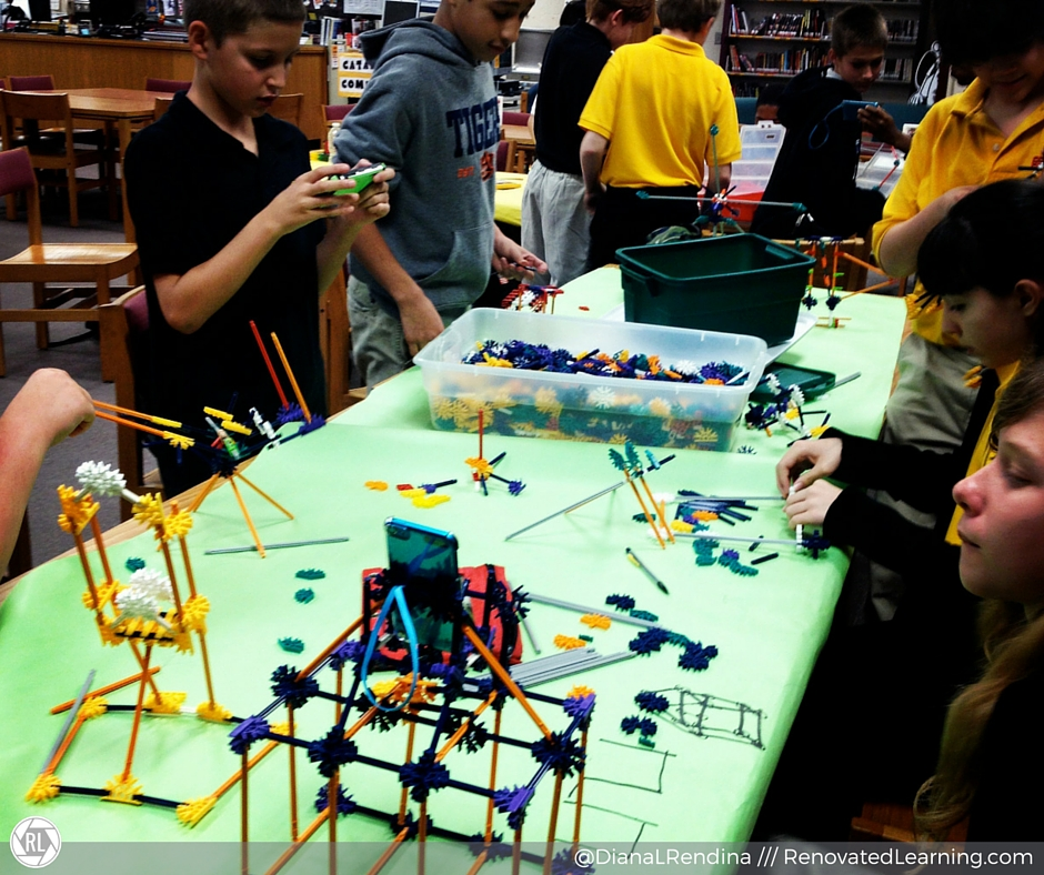 Our K'nex club working on a design challenge