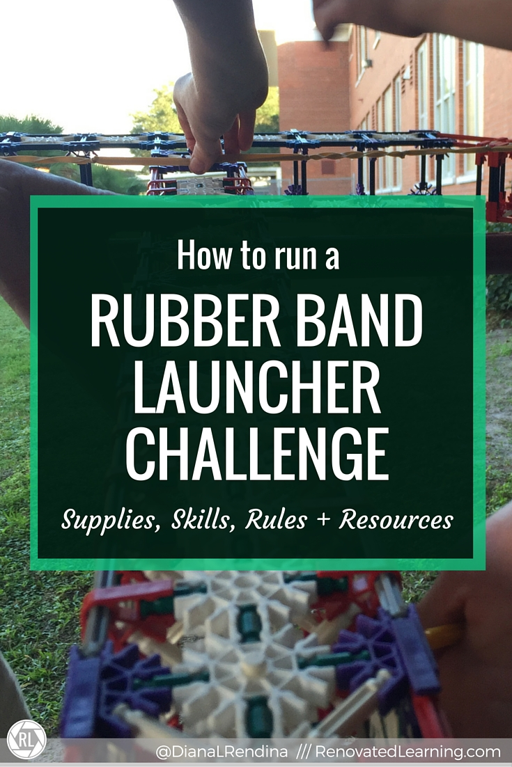 How to run a RUBBER BAND LAUNCHER CHALLENGE: Includes suggested supplies, skills that help, ground rules to set and recommended resources for running a Rubber Band Launcher Challenge in your makerspace.