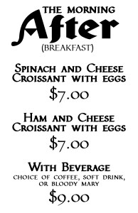 Breakfast Menu for Renfaire After Dark 2018