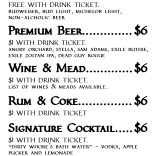 Drink menu for Renfaire After Dark 2018